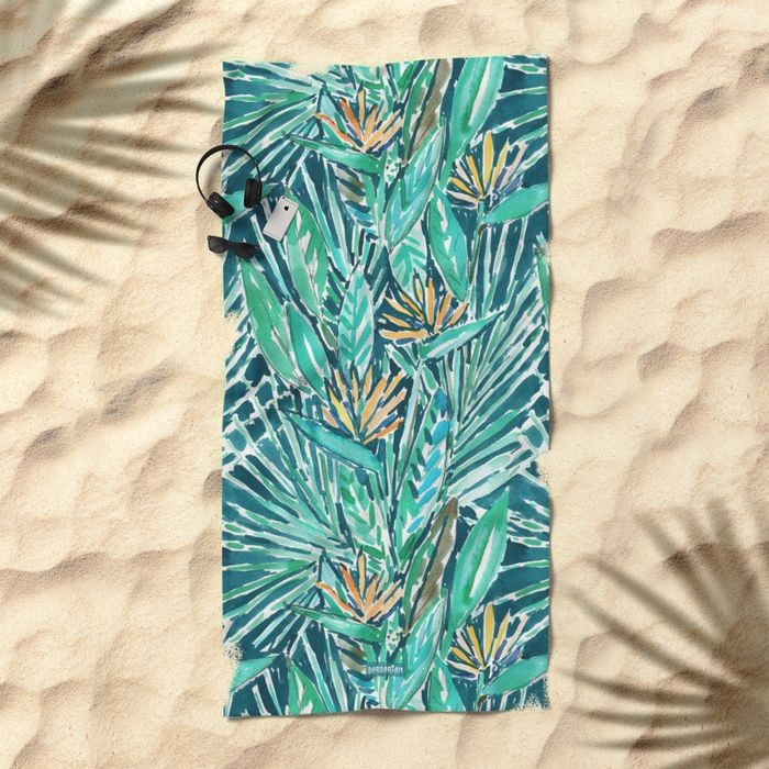 Birds of Paradise Tropical beach towel by Barbarian