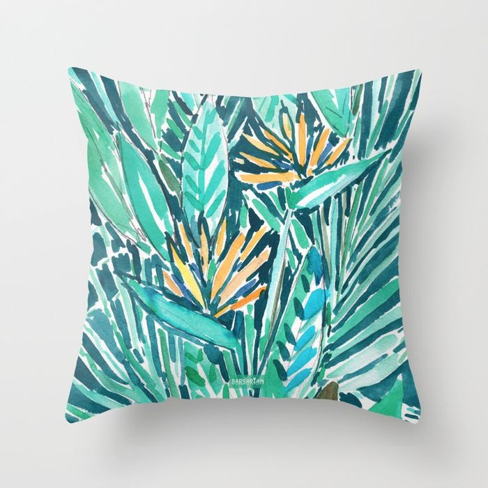 Birds of Paradise Tropical throw pillow by Barbarian
