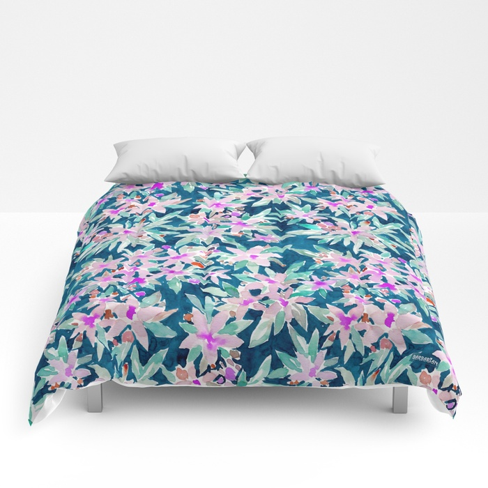 LET GO Tropical Watercolor Floral Comforter by Barbarian