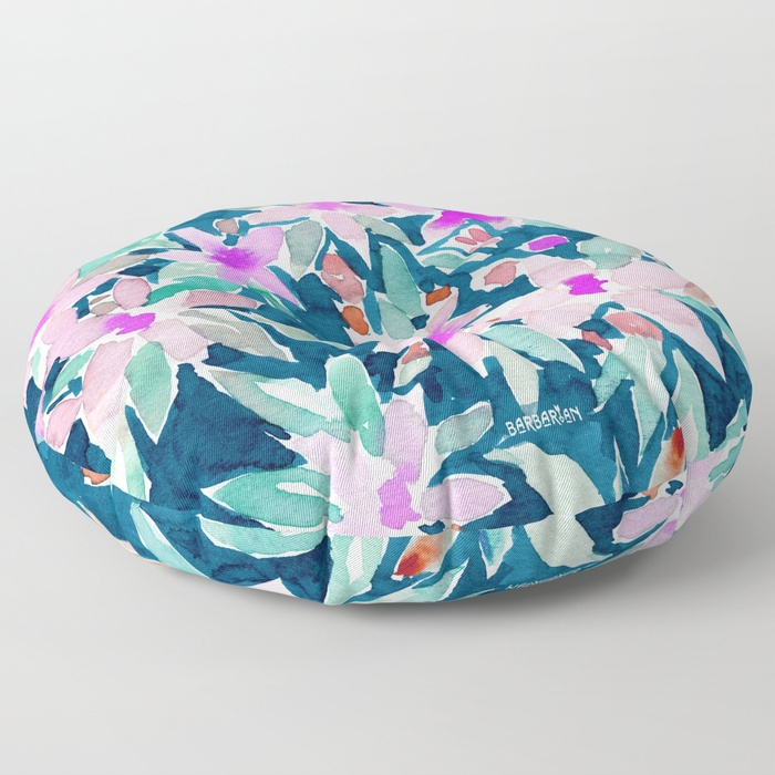 LET GO Tropical Watercolor Floral Floor Pillow by Barbarian