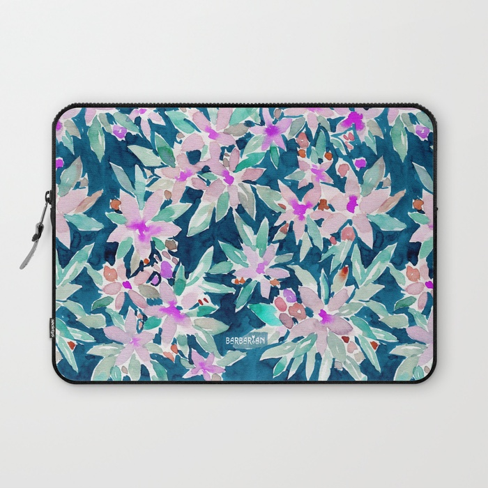 LET GO Tropical Watercolor Floral Laptop Sleeve by Barbarian