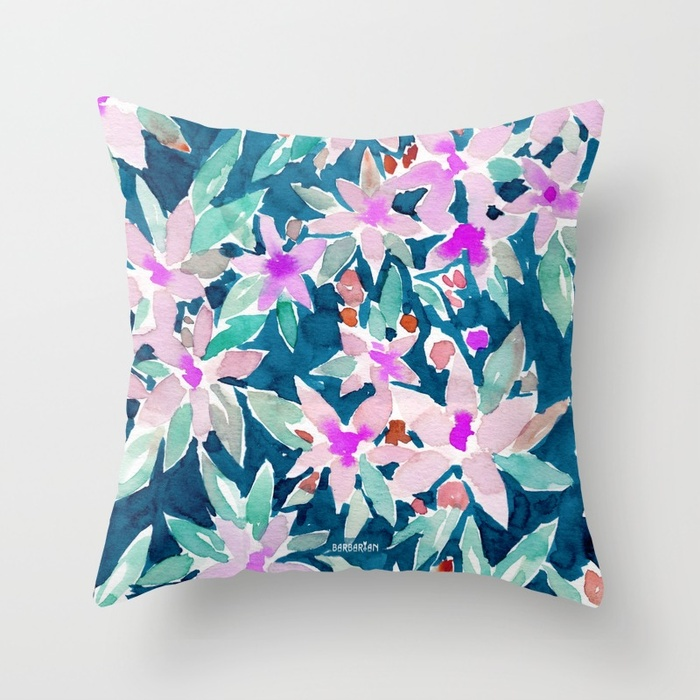 LET GO Tropical Watercolor Floral Throw Pillow by Barbarian