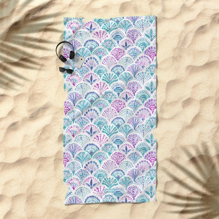 SHELL OUT Boho Mermaid Scales Beach Towel by Barbarian