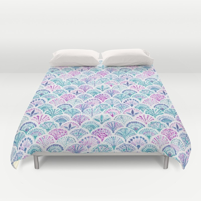SHELL OUT Boho Mermaid Scales Duvet Cover by Barbarian