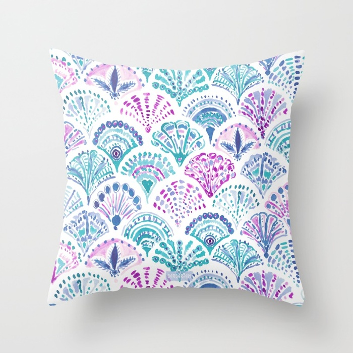 SHELL OUT Boho Mermaid Scales Throw Pillow by Barbarian