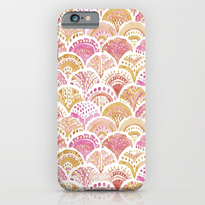 Sunset MERMAID DAYDREAMS Watercolor Scales Phone Case by Barbarian
