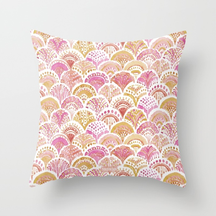 Sunset MERMAID DAYDREAMS Watercolor Scales Throw Pillow by Barbarian