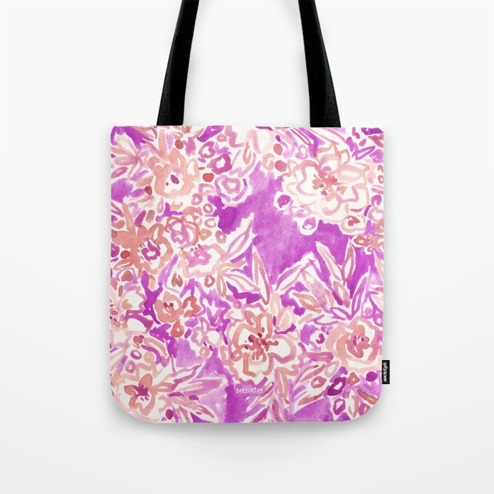 TROPICAL FLAIR Pink Floral Tote by Barbarian