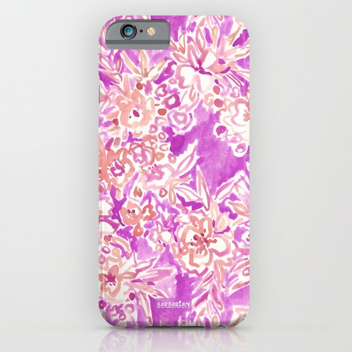 TROPICAL FLAIR Pink Floral Phone Case by Barbarian