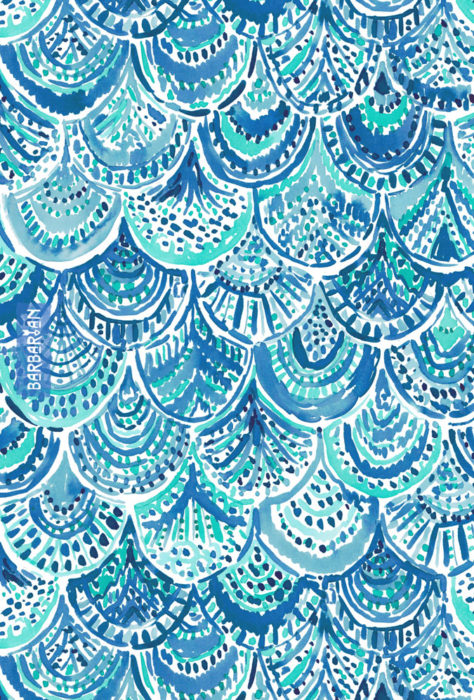 SPLASH Blue Watercolor Mermaid Scales