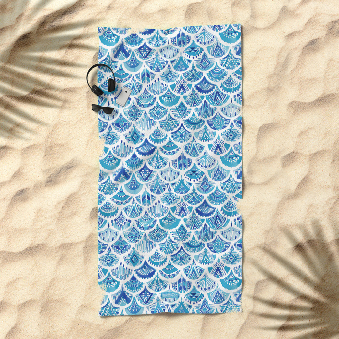 AZTEC MERMAID Tribal Scallop Pattern Beach Towel by Barbarian