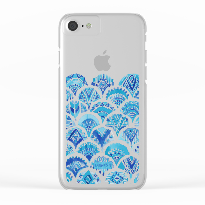 AZTEC MERMAID Tribal Scallop Pattern Clear Phone Case by Barbarian