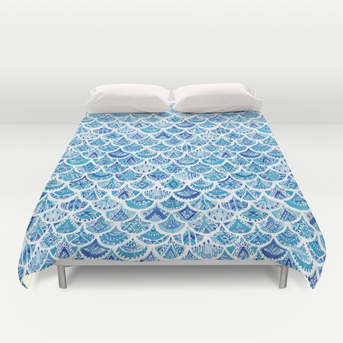 AZTEC MERMAID Tribal Scallop Pattern Duvet Cover by Barbarian