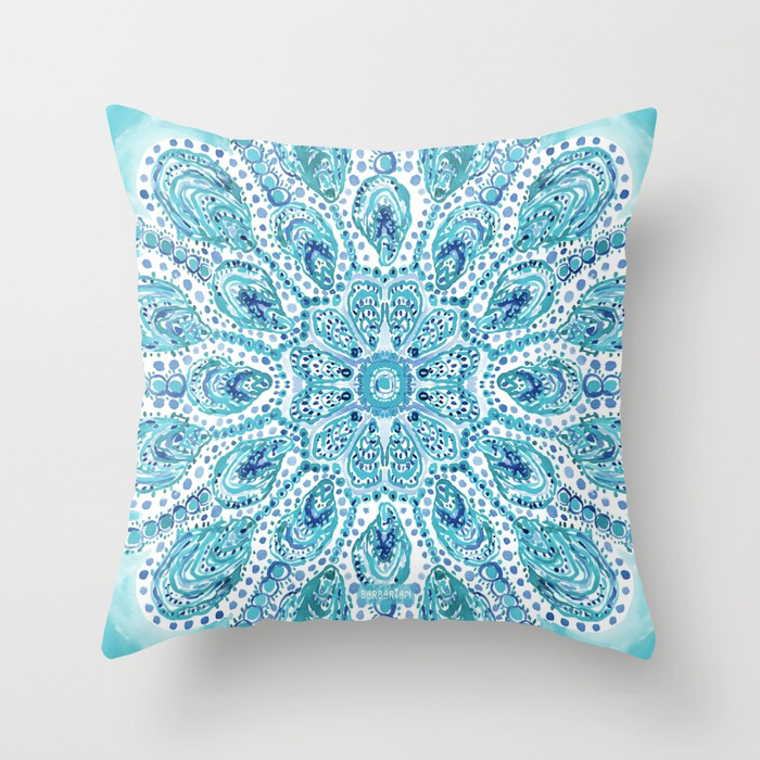 MMMOYSTERS Oyster Mandala Throw Pillow by Barbarian