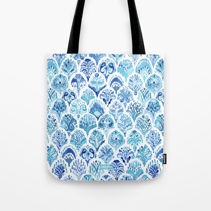 PAISLEY MERMAID Watercolor Scale Pattern Tote Bag by Barbarian