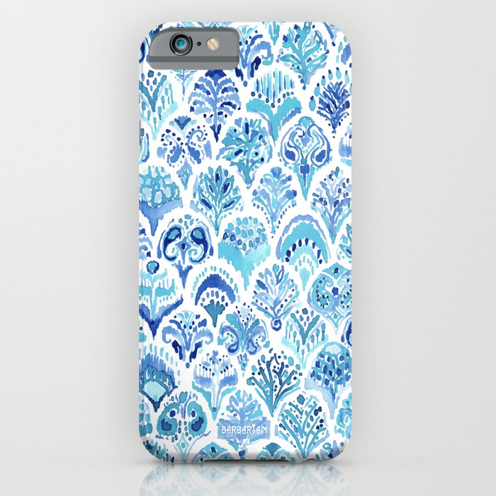 PAISLEY MERMAID Watercolor Scale Pattern Phone Case by Barbarian