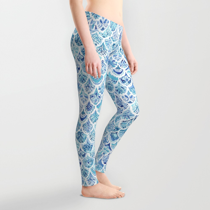 PAISLEY MERMAID Watercolor Scale Pattern Leggings by Barbarian