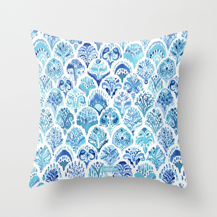 PAISLEY MERMAID Watercolor Scale Pattern Throw Pillow by Barbarian