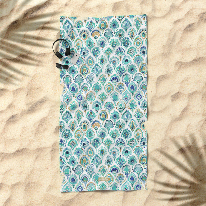 PEACOCK MERMAID Nautical Scales and Feathers Beach Towel by Barbarian