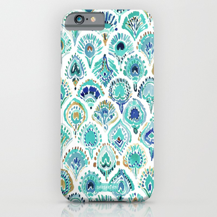 PEACOCK MERMAID Nautical Scales and Feathers Phone Case by Barbarian