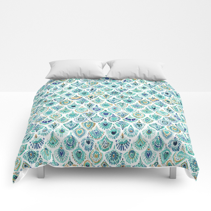 PEACOCK MERMAID Nautical Scales and Feathers Comforter by Barbarian