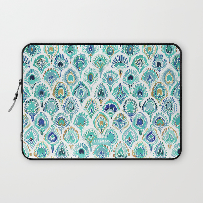 PEACOCK MERMAID Nautical Scales and Feathers Laptop Sleevel by Barbarian