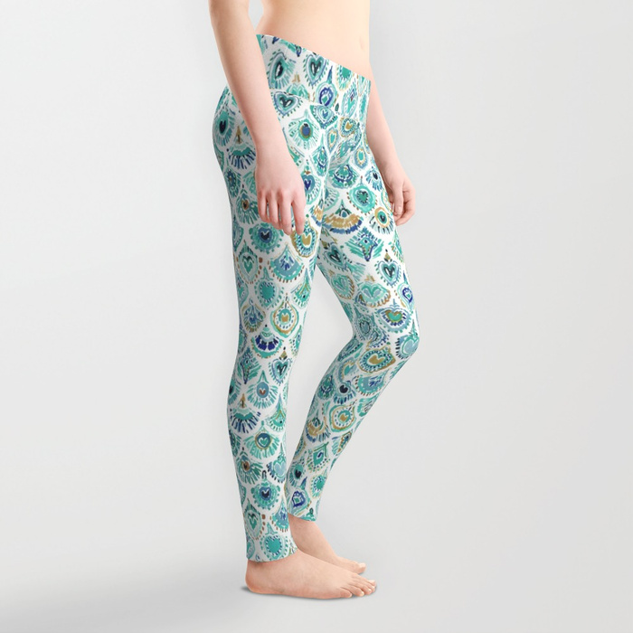PEACOCK MERMAID Nautical Scales and Feathers Leggings by Barbarian