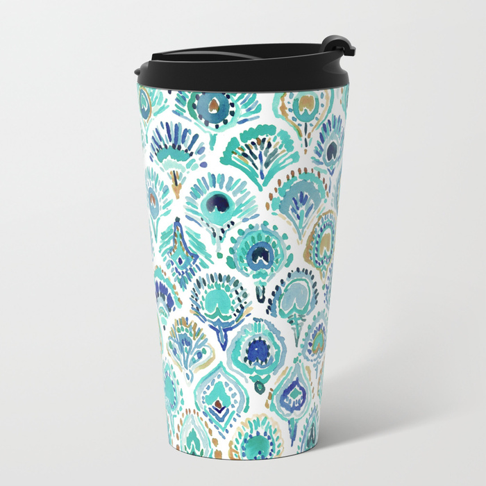 PEACOCK MERMAID Nautical Scales and Feathers Travel Mug by Barbarian
