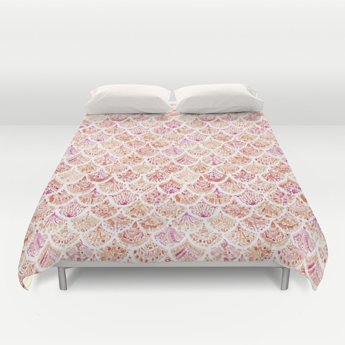 UNDERTOW Coral Mermaid Scales Duvet Cover by Barbarian