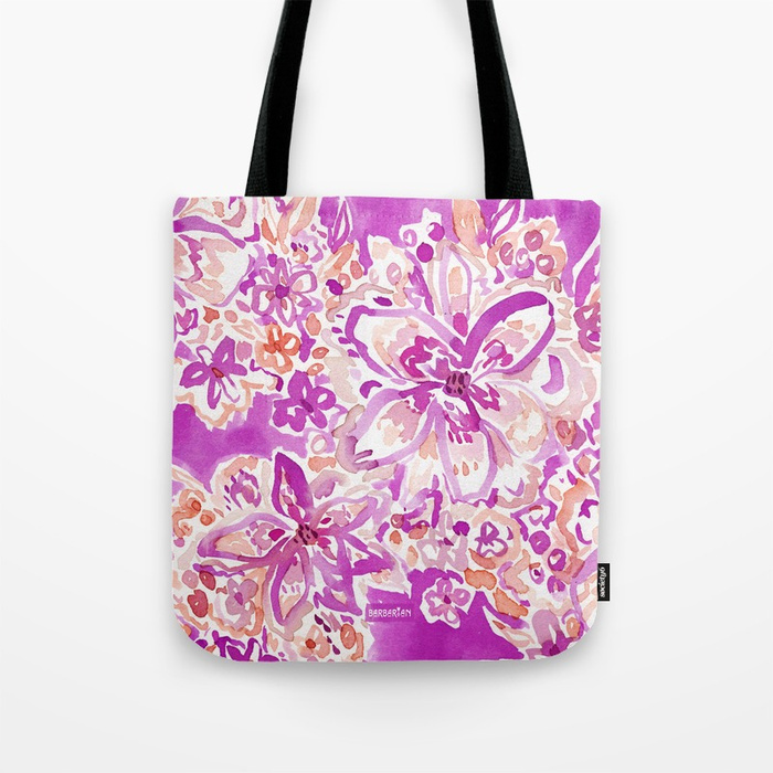 GOOD VIBES Wild Watercolor Floral Tote Bag
