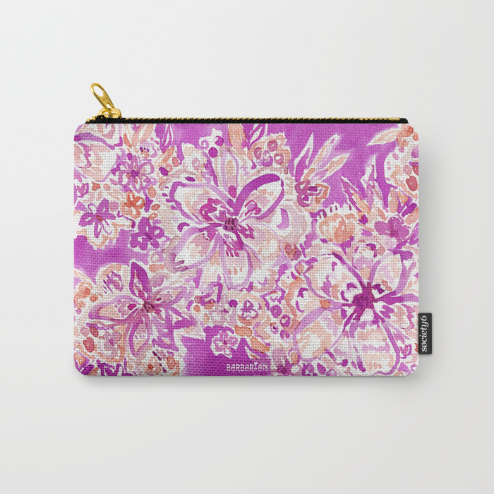GOOD VIBES Wild Watercolor Floral Zip Pouch