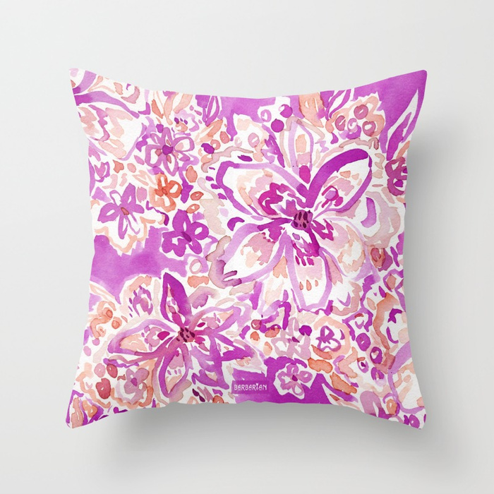 GOOD VIBES Wild Watercolor Floral Throw Pillow