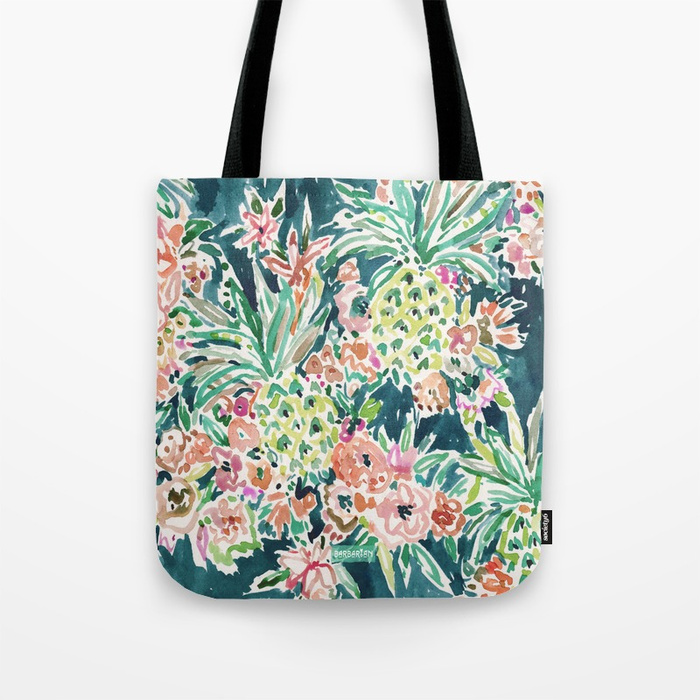 PINEAPPLE PARTY Lush Tropical Boho Floral Tote Bag
