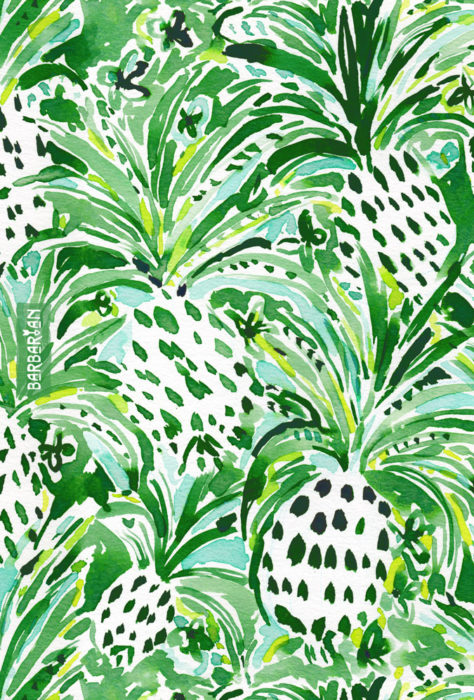 TROPICAL SITCH Green Pineapple Watercolor