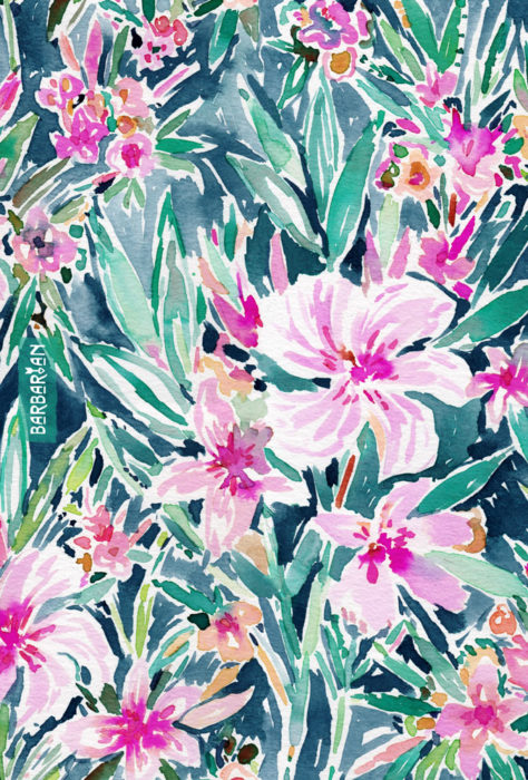 LUSH OLEANDER Tropical Watercolor Floral