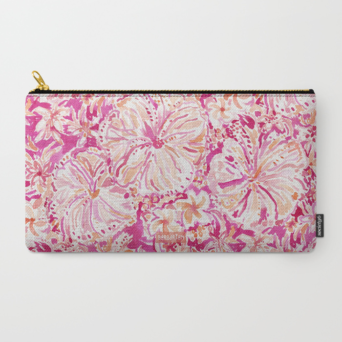 ALOHA STATE Tropical Watercolor Floral Zip Pouch