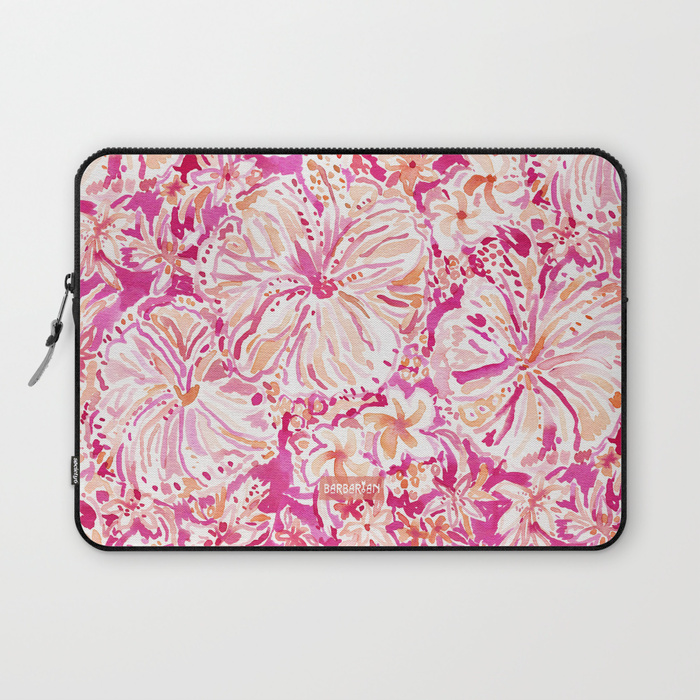 ALOHA STATE Tropical Watercolor Floral Laptop Sleeve