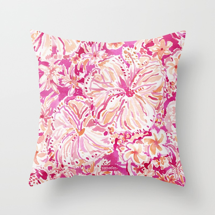 ALOHA STATE Tropical Watercolor Floral Pillow