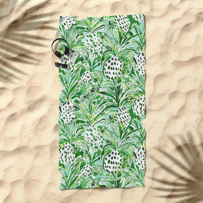 TROPICAL SITCH Green Pineapple Watercolor Beach Towel