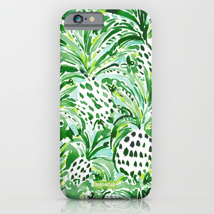 TROPICAL SITCH Green Pineapple Watercolor Phone Case