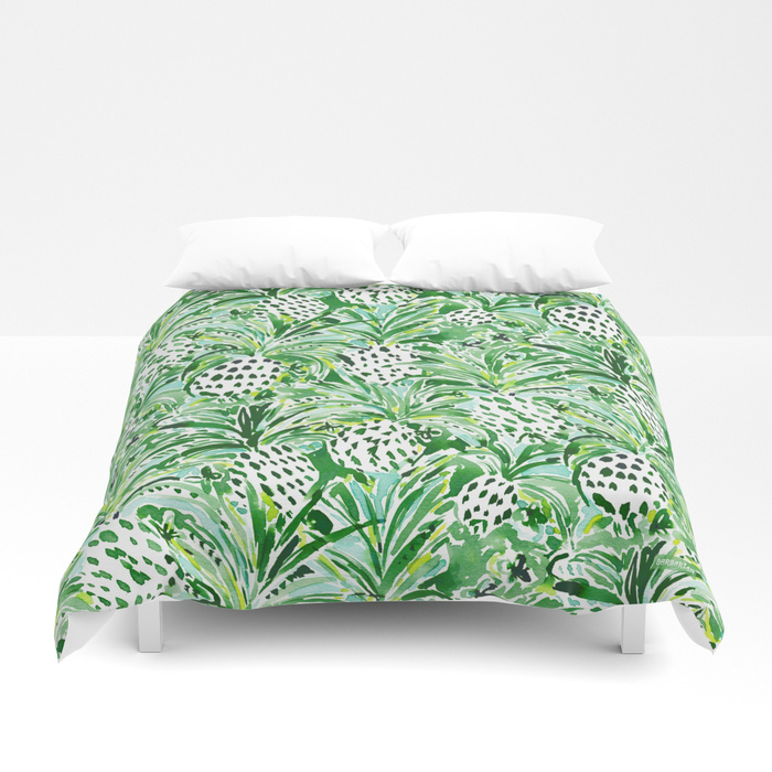 TROPICAL SITCH Green Pineapple Watercolor Duvet Cover