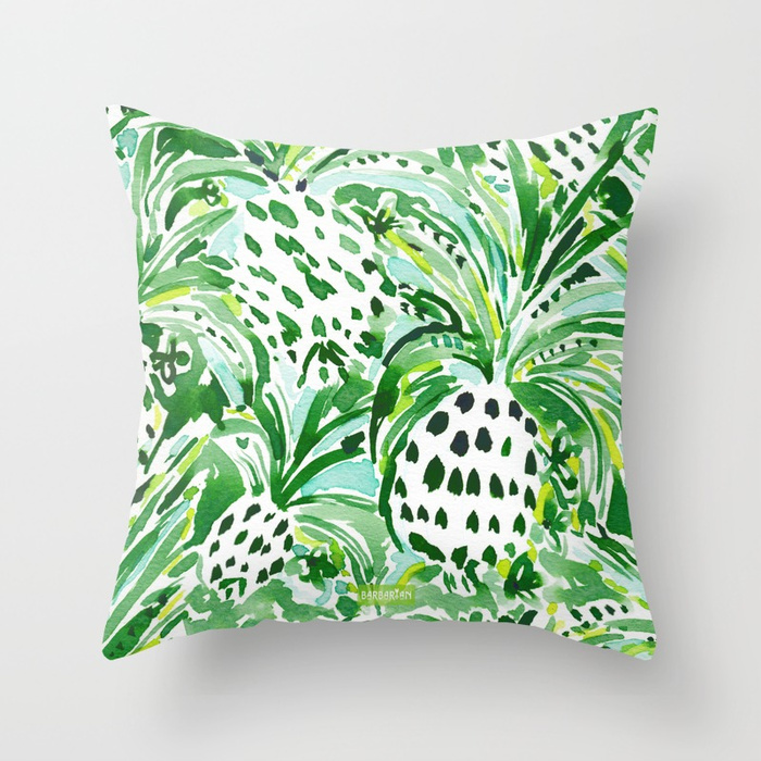 TROPICAL SITCH Green Pineapple Watercolor Throw Pillow
