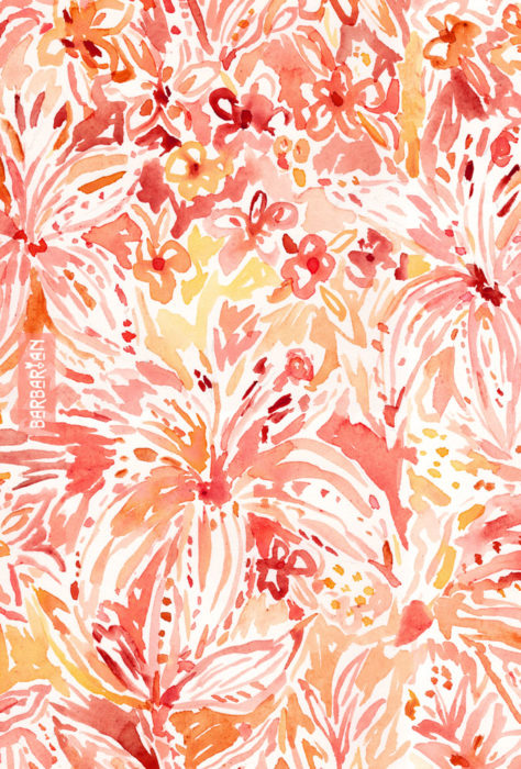 LILY LUST Peach Painterly Floral