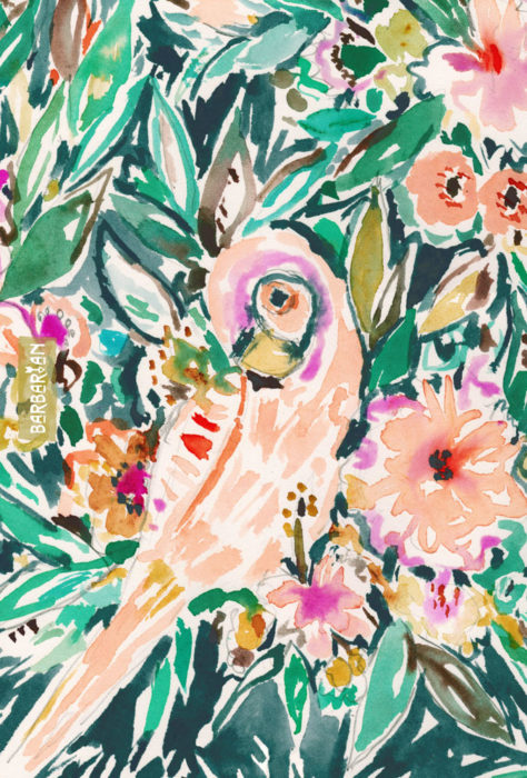 PRETTY BIRD Floral Parrot Watercolor