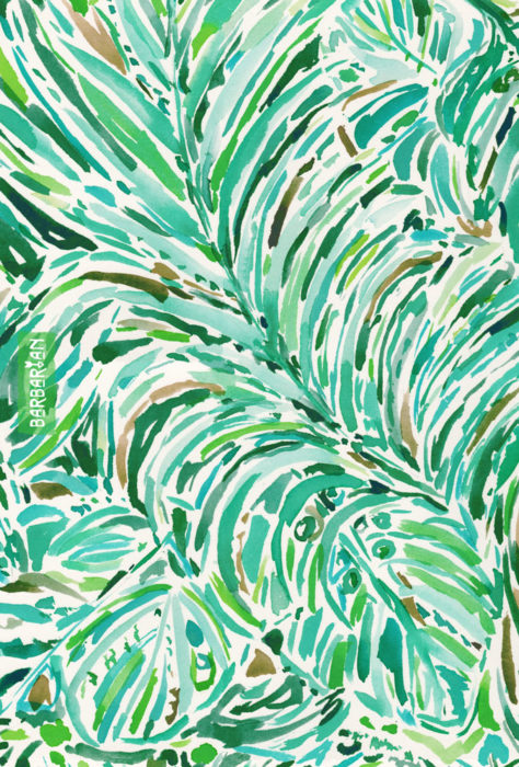 LUSH FREEDOM Watercolor Palm Print