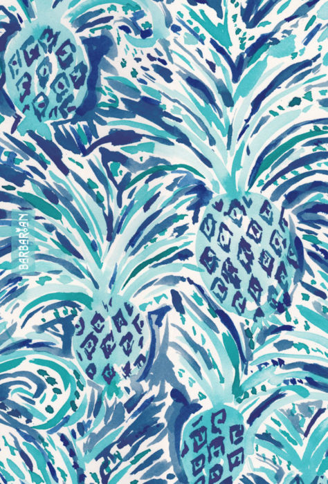 PINEAPPLE WAVE Blue Painterly Watercolor