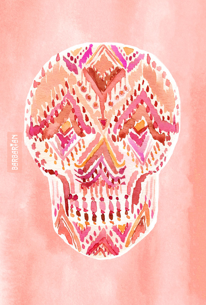 SO LIT SKULL Peach Tribal Watercolor