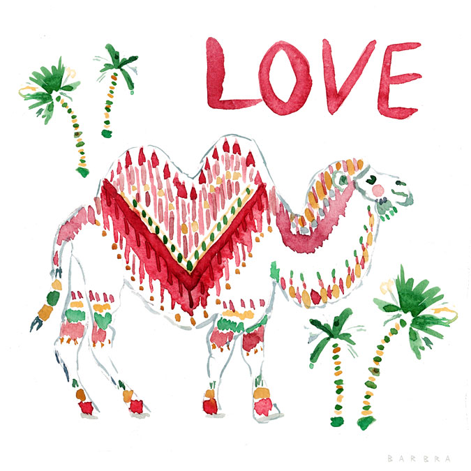 CAMEL LOVE Holiday Watercolor