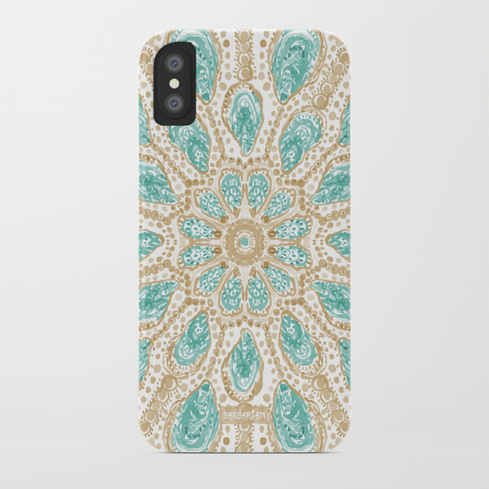 MMMOYSTERS Gold-Rimmed Oyster Mandala Phone Case