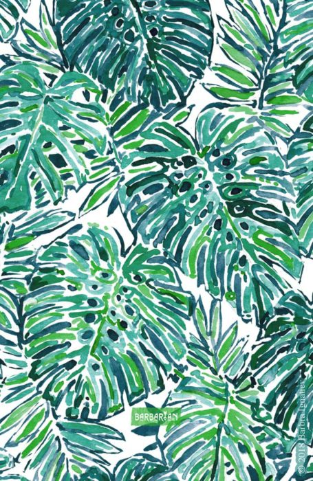 JUNGLE VIBES Green Tropical Monstera Leaves